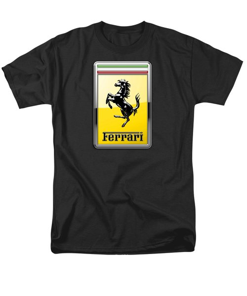 Ferrari 3d Badge- Hood Ornament On Black Men's T-Shirt  (Regular Fit) by Serge Averbukh