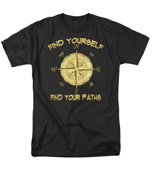 Men's T-Shirt  (Regular Fit) featuring the painting Find Yourself Find Your Paths by Georgeta Blanaru
