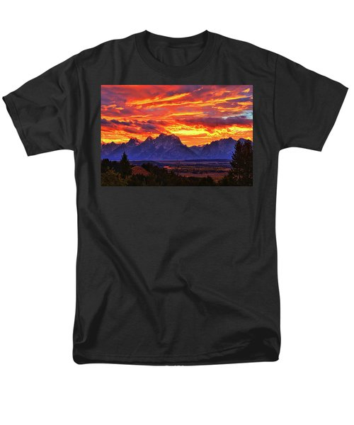 Fire In The Teton Sky Men's T-Shirt  (Regular Fit) by Greg Norrell