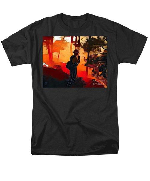Firefighter On White Draw Fire Men's T-Shirt  (Regular Fit) by Bill Gabbert