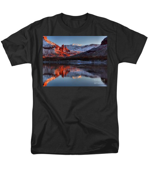 Men's T-Shirt  (Regular Fit) featuring the photograph Fisher Towers Sunset On The Colorado by Adam Jewell