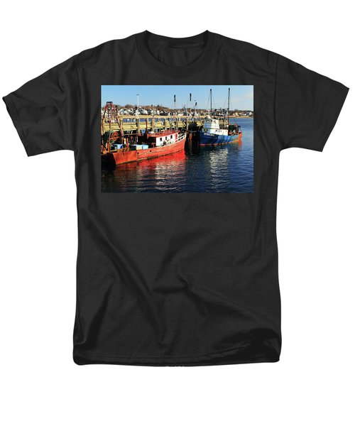 Men's T-Shirt  (Regular Fit) featuring the photograph Fishing Boats At Provincetown Wharf by Roupen  Baker