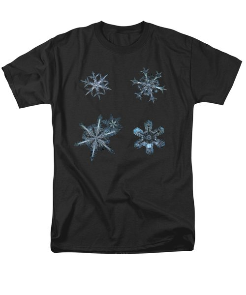 Five Snowflakes On Black 3 Men's T-Shirt  (Regular Fit) by Alexey Kljatov