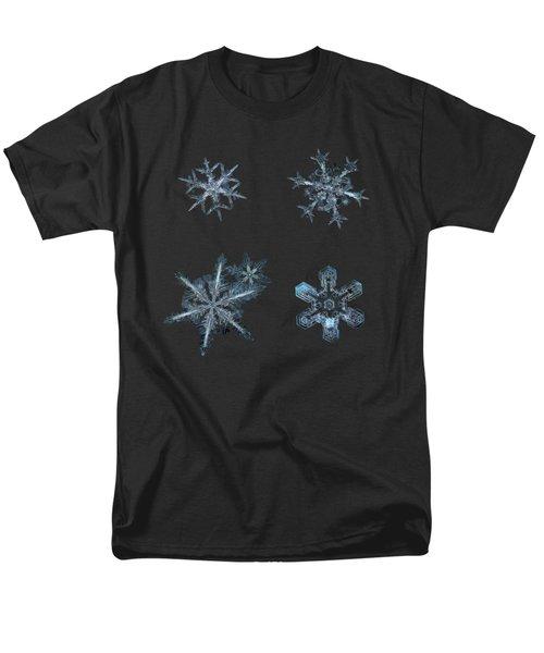Five Snowflakes On Black 3 Men's T-Shirt  (Regular Fit)