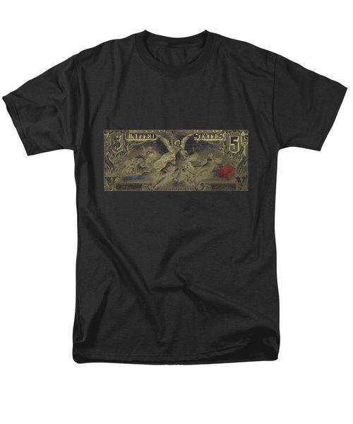 Men's T-Shirt  (Regular Fit) featuring the digital art Five U.s. Dollar Bill - 1896 Educational Series In Gold On Black  by Serge Averbukh
