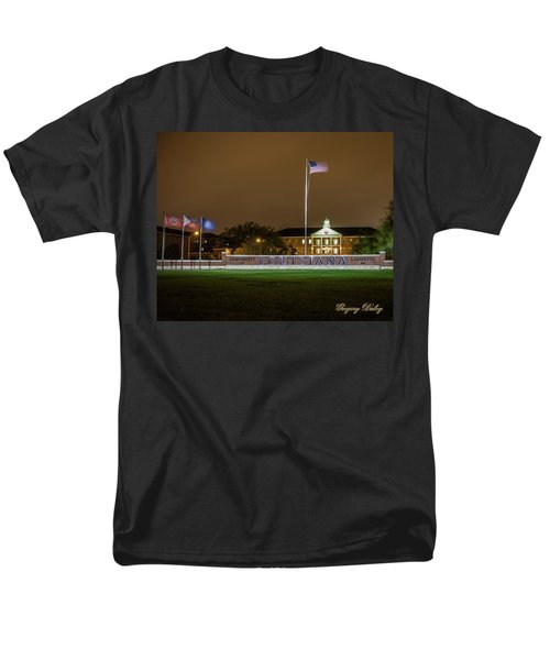 Men's T-Shirt  (Regular Fit) featuring the photograph Flag At Night In Wind by Gregory Daley  PPSA