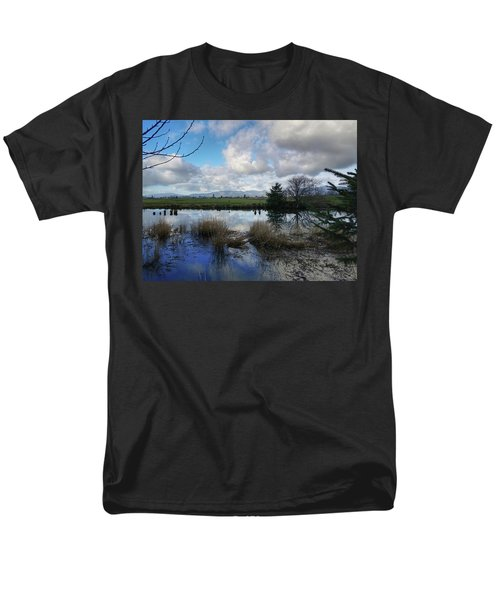 Men's T-Shirt  (Regular Fit) featuring the photograph Flooding River, Field And Clouds by Chriss Pagani