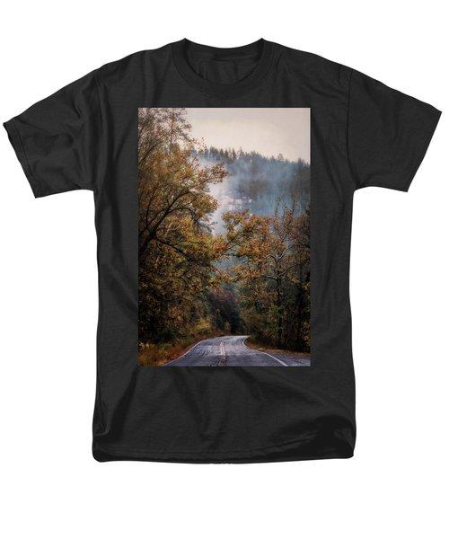 Men's T-Shirt  (Regular Fit) featuring the photograph Foggy Autumn Road  by Saija Lehtonen