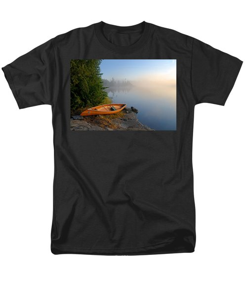 Foggy Morning On Spice Lake Men's T-Shirt  (Regular Fit) by Larry Ricker