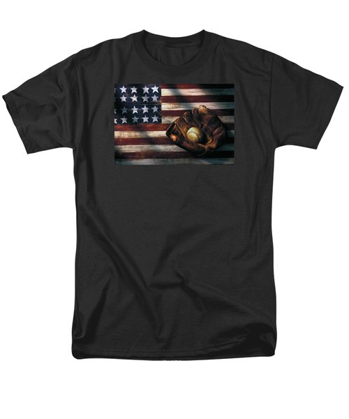 Folk Art American Flag And Baseball Mitt Men's T-Shirt  (Regular Fit) by Garry Gay