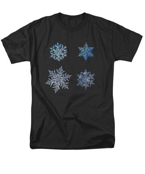 Four Snowflakes On Black Background Men's T-Shirt  (Regular Fit) by Alexey Kljatov