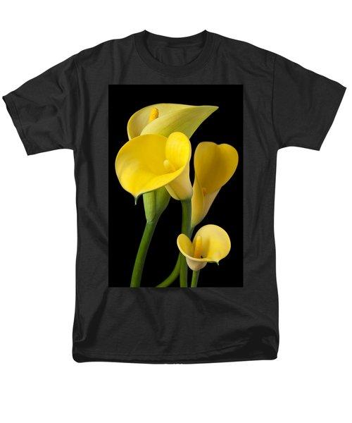 Four Yellow Calla Lilies Men's T-Shirt  (Regular Fit) by Garry Gay