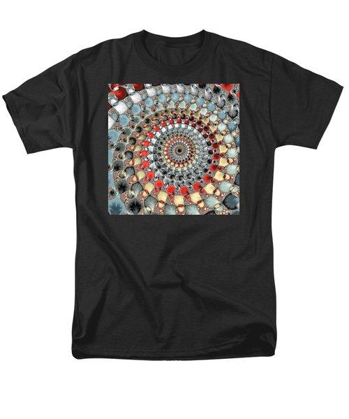Fractal Spiral Red Grey Light Blue Square Format Men's T-Shirt  (Regular Fit) by Matthias Hauser