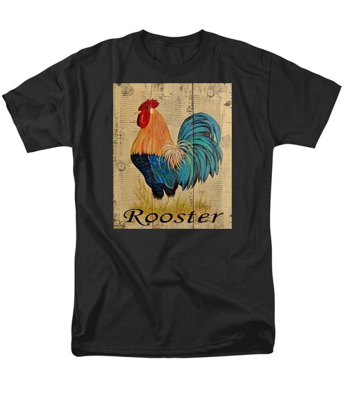 Men's T-Shirt  (Regular Fit) featuring the painting French Country Shabby Cottage Rooster by Cindy Micklos