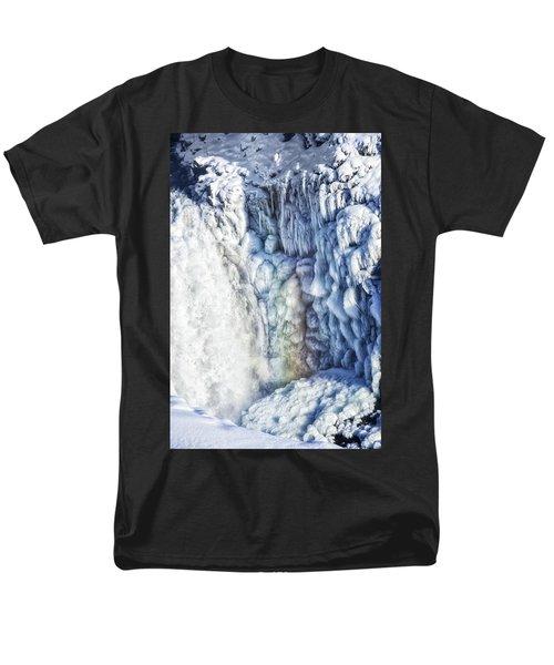 Men's T-Shirt  (Regular Fit) featuring the photograph Frozen Waterfall Gullfoss Iceland by Matthias Hauser