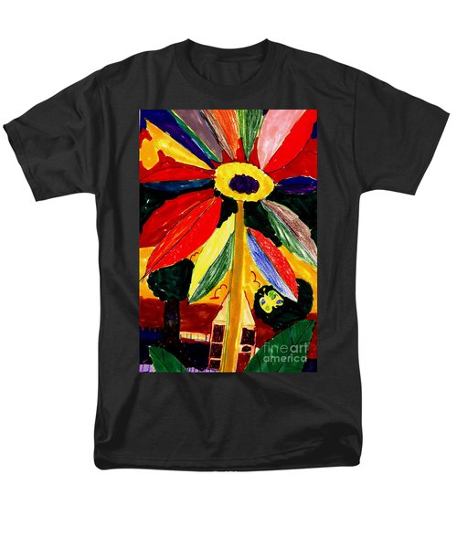 Men's T-Shirt  (Regular Fit) featuring the painting Full Bloom - My Home 2 by Angela L Walker