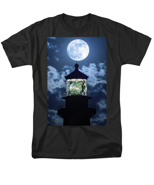 Men's T-Shirt  (Regular Fit) featuring the photograph Full Moon Over Hillsboro Lighthouse In Pompano Beach Florida  by Justin Kelefas