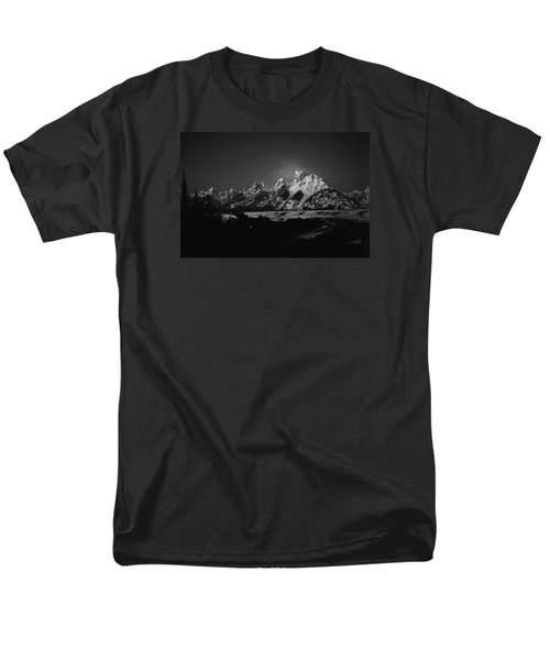 Full Moon Sets In The Tetons Men's T-Shirt  (Regular Fit) by Raymond Salani III