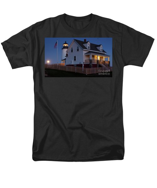Men's T-Shirt  (Regular Fit) featuring the photograph Full Moon Rise At Pemaquid Light, Bristol, Maine -150858 by John Bald