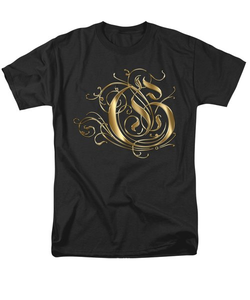 G Ornamental Letter Gold Typography Men's T-Shirt  (Regular Fit) by Georgeta Blanaru