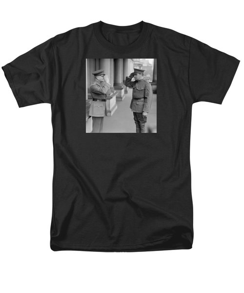 General John Pershing Saluting Babe Ruth Men's T-Shirt  (Regular Fit) by War Is Hell Store