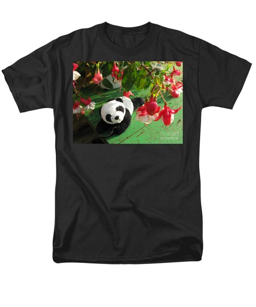 Men's T-Shirt  (Regular Fit) featuring the photograph Ginny Under The Red And White Fuchsia by Ausra Huntington nee Paulauskaite