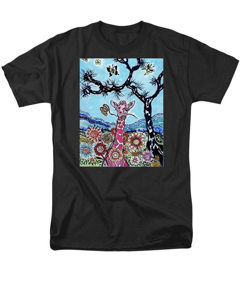 Men's T-Shirt  (Regular Fit) featuring the painting Giraffe In Garden by Connie Valasco
