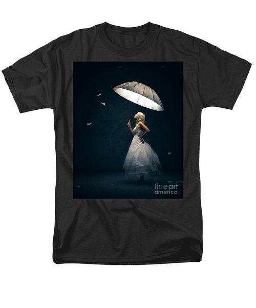 Girl With Umbrella And Falling Feathers Men's T-Shirt  (Regular Fit) by Johan Swanepoel