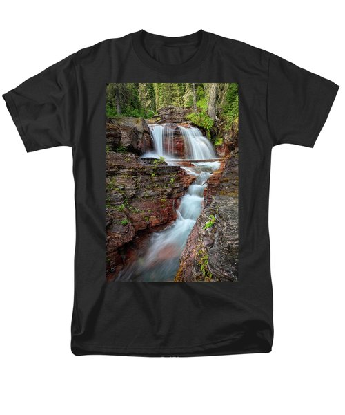 Glacier National Park Waterfall 2 Men's T-Shirt  (Regular Fit) by Andres Leon