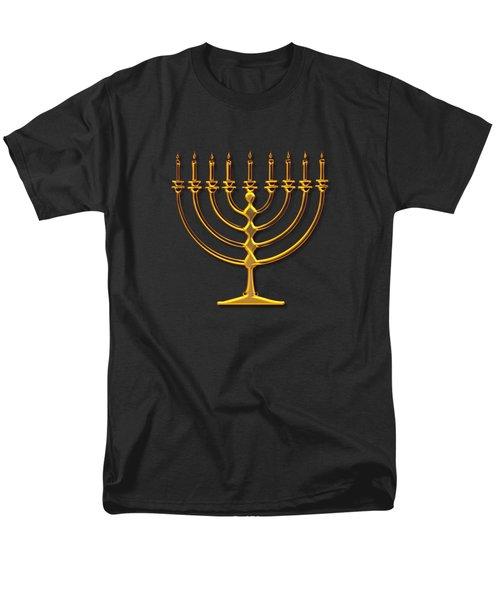 Golden 3-d Look Menorah  Men's T-Shirt  (Regular Fit) by Rose Santuci-Sofranko