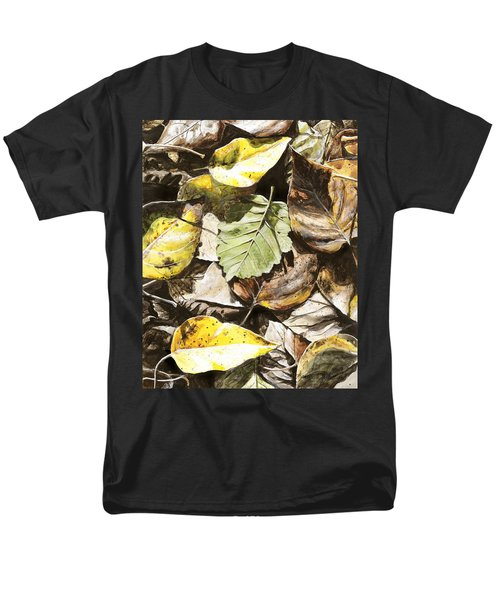 Men's T-Shirt  (Regular Fit) featuring the painting Golden Autumn - Talkeetna Leaves by Karen Whitworth