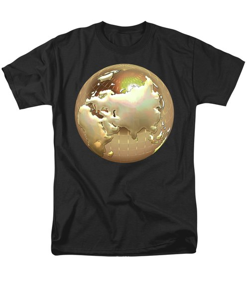 Golden Globe - Eastern Hemisphere On Black Men's T-Shirt  (Regular Fit) by Serge Averbukh
