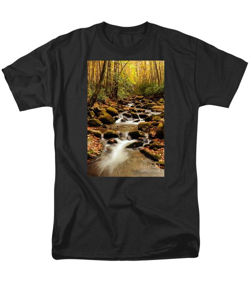 Men's T-Shirt  (Regular Fit) featuring the photograph Golden Stream In The Great Smoky Mountains by Debbie Green