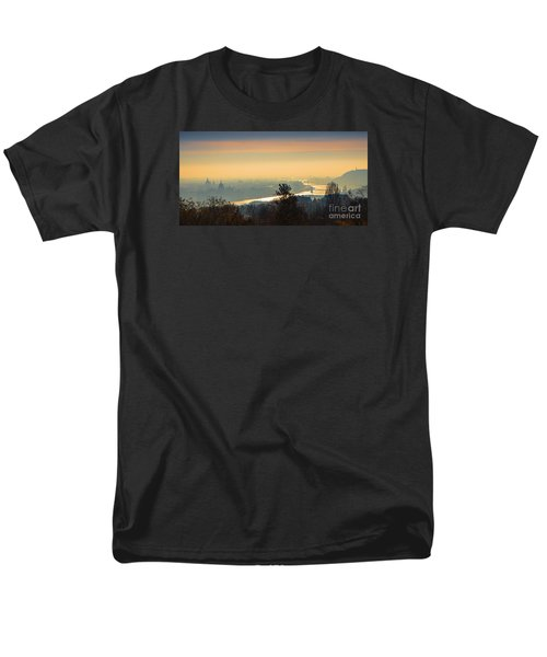Men's T-Shirt  (Regular Fit) featuring the photograph Golden Sunrise Over Budapest by Jivko Nakev
