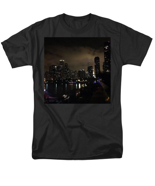 Chicago Skyline By Night Men's T-Shirt  (Regular Fit) by Chantal Mantovani