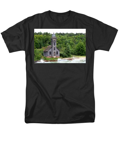 Men's T-Shirt  (Regular Fit) featuring the photograph Grand Island East Channel Lighthouse #6680 by Mark J Seefeldt