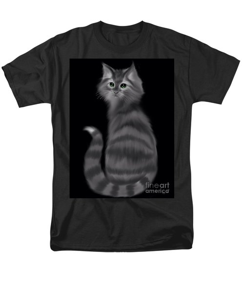 Men's T-Shirt  (Regular Fit) featuring the painting Gray Striped Cat by Nick Gustafson