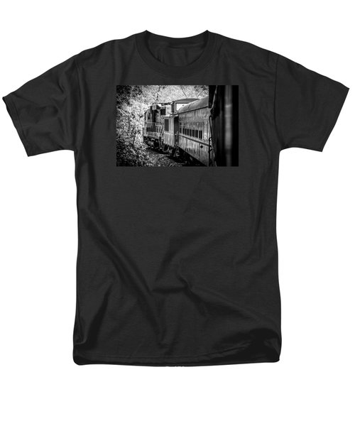 Men's T-Shirt  (Regular Fit) featuring the photograph Great Smokey Mountain Railroad Looking Out At The Train In Black And White by Kelly Hazel