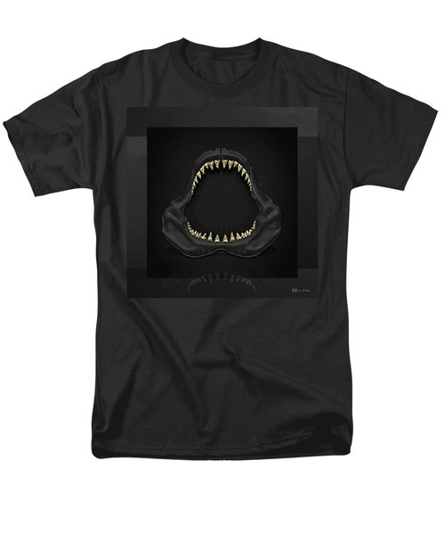 Great White Shark Jaws With Gold Teeth  Men's T-Shirt  (Regular Fit) by Serge Averbukh