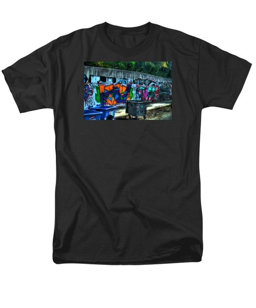 Men's T-Shirt  (Regular Fit) featuring the photograph Greek Graffiti With Garbage Bins by Richard Ortolano