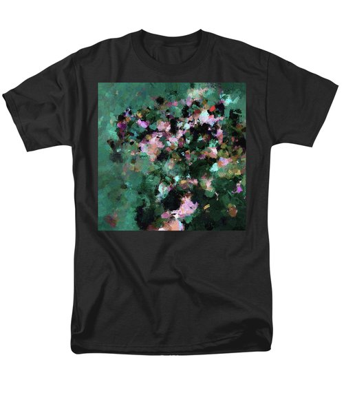 Men's T-Shirt  (Regular Fit) featuring the painting Green Landscape Painting In Minimalist And Abstract Style by Ayse Deniz