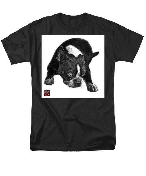 Greyscale Boston Terrier Art - 8384 - Wb Men's T-Shirt  (Regular Fit) by James Ahn