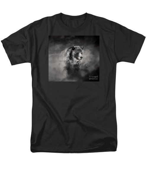 Men's T-Shirt  (Regular Fit) featuring the photograph Grizzly Black And White In Clouds by Clare VanderVeen