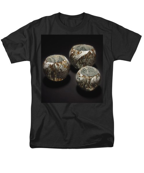 Hand Painted Glass Set Of Three Brown White Men's T-Shirt  (Regular Fit)