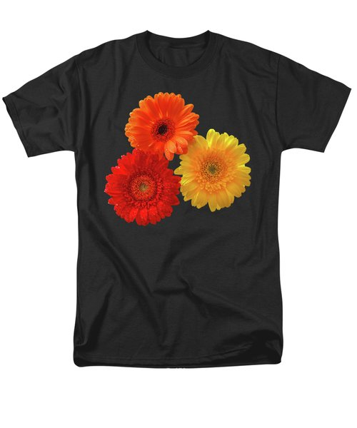 Happiness - Orange Red And Yellow Gerbera On Black Men's T-Shirt  (Regular Fit) by Gill Billington