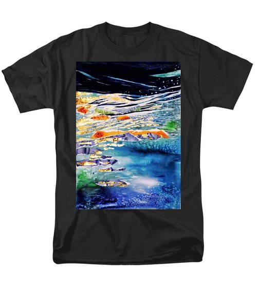 Men's T-Shirt  (Regular Fit) featuring the painting Harmony In Blue And Gold  by Trudi Doyle