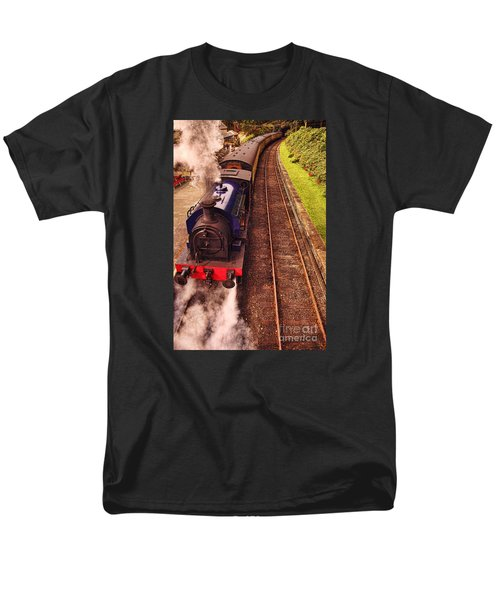 Harry Potters Haverthwaite Railway Station Men's T-Shirt  (Regular Fit) by Graham Hawcroft pixsellpix