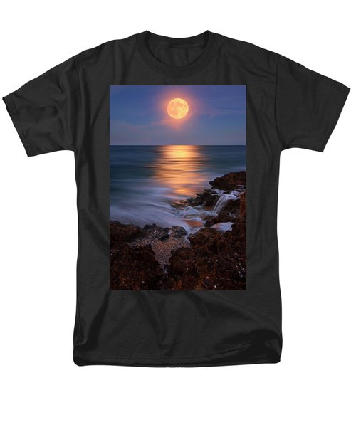 Men's T-Shirt  (Regular Fit) featuring the photograph Harvest Moon Rising Over Beach Rocks On Hutchinson Island Florida During Twilight. by Justin Kelefas