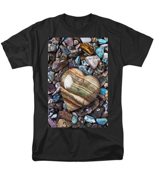 Heart Stone Men's T-Shirt  (Regular Fit) by Garry Gay