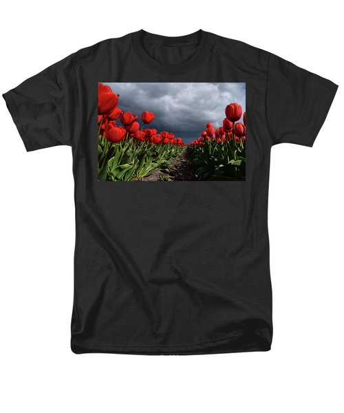 Heavy Clouds Over Red Tulips Men's T-Shirt  (Regular Fit) by Mihaela Pater
